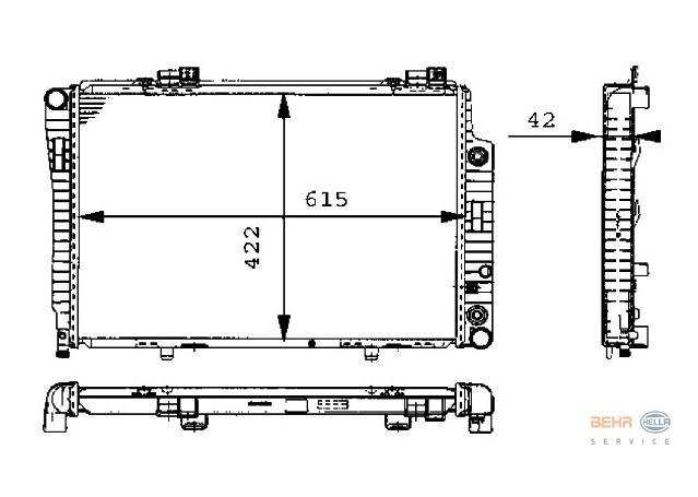 Hella Radiator 8MK 376 711-191 fits Mercedes-Benz (W202,C208,R170)